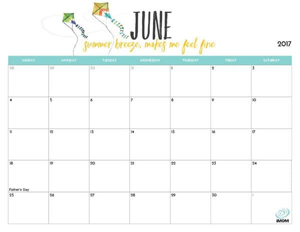Cute June 2017 Colorful Calendar Template For Kids - Free HD Images - kids calendar template