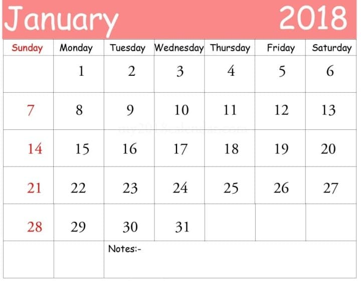 Calendar January 2018 Printable Template Download PDF - Free HD Images