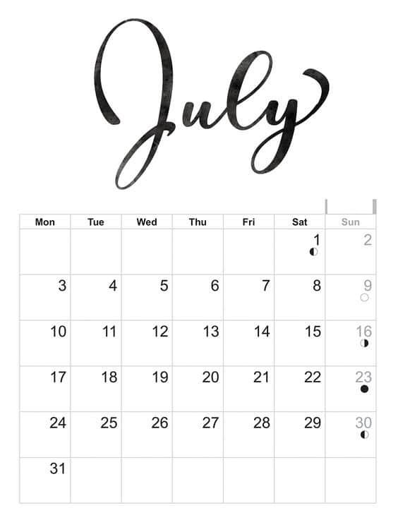 july calendar 2018 printable - Jolivibramusic - printable calendar