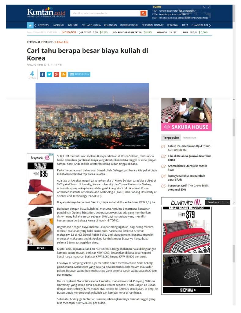 Cari tahu berapa besar biaya kuliah di Korea - tabloid Kontan Maret 2016