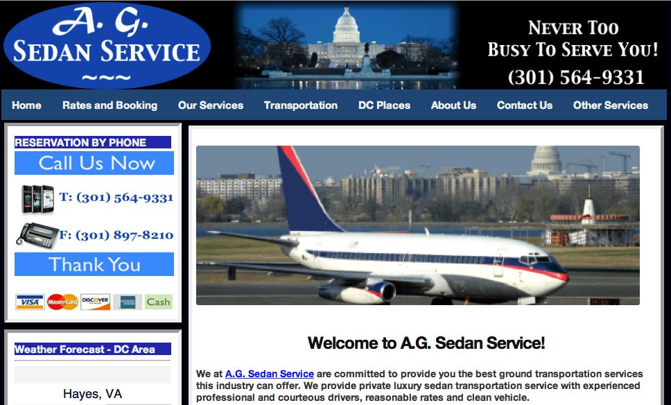 sedan service website picture
