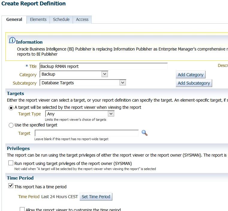 RMAN backup report using Oracle Enterprise Manager 12c