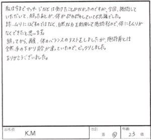 佐倉市 20代 女性 K.Mさん