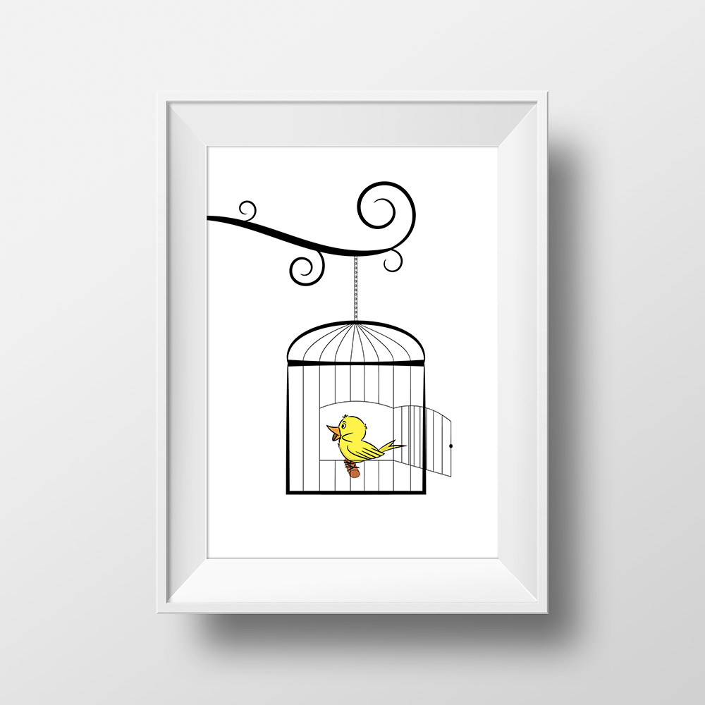 Affiche Scandinave Home Cute Little Bird Modern Poster Digital Print Wall Decoration