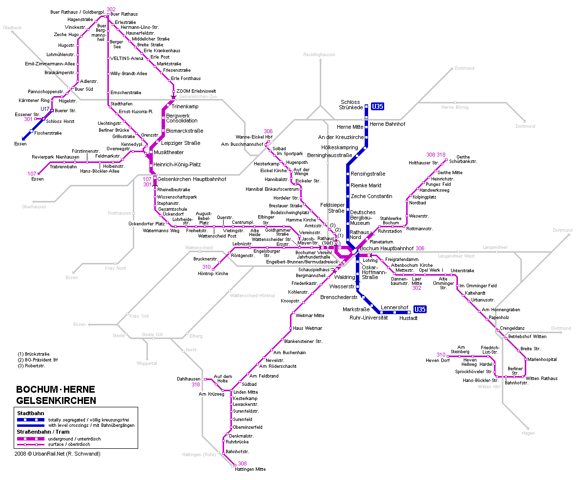 Maps Saarbrücken Bochum Tram Map For Free Download Map Of Bochum Tramway Network
