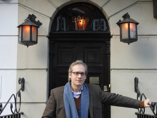 At last, in front of 221B Baker Street in London.