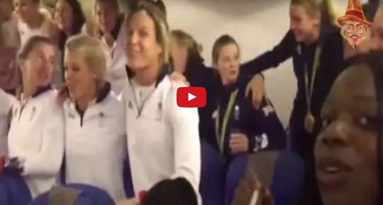 TEAM GB SING NATIONAL ANTHEM ON VICTORY JET HOME