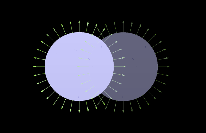 Two tanks overlaid to form the double bubble. Black background so things are bit easier to see.