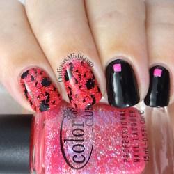 Pink Glitter and Black Flowers Nail Art Ordinarymisfit