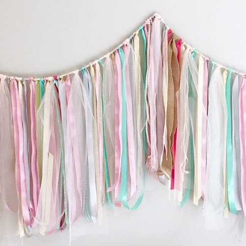 Ribbon Garland Pinks and Blues