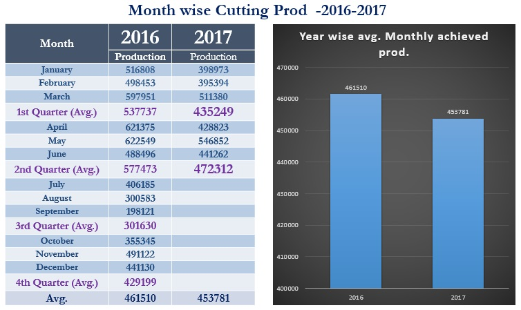 Month Wise Cutting Production