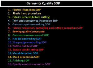 Garments Quality SOP, Garments Quality Standard Operating Procedure
