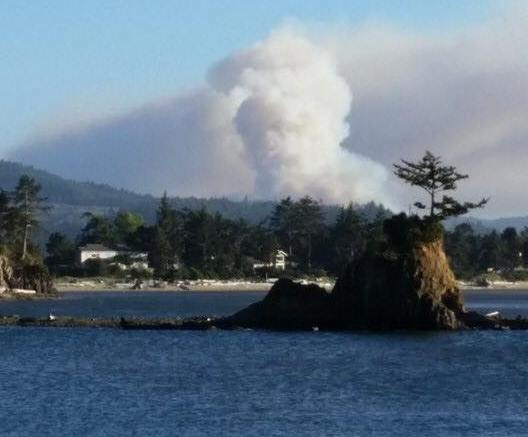 Smoke as seen from across Siletz Bay. Photo by Cheryl Roberts-Lindquist