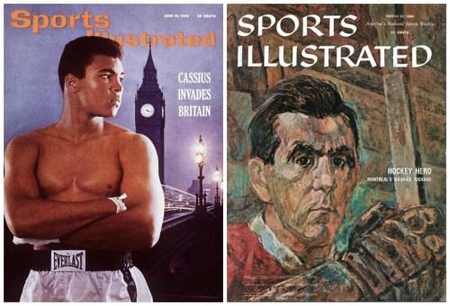 Mohamed Ali et Maurice Richard sur la couverture de Sports Illustrated, collage