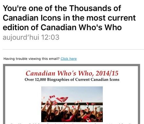 Canadian Who's Who, publicité par courriel, juillet 2016