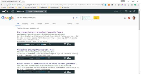 The MozBar chrome plugin shows the Domain Authority Score