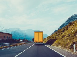Cargo truck on the mountain. truck on road. Cargo transportation