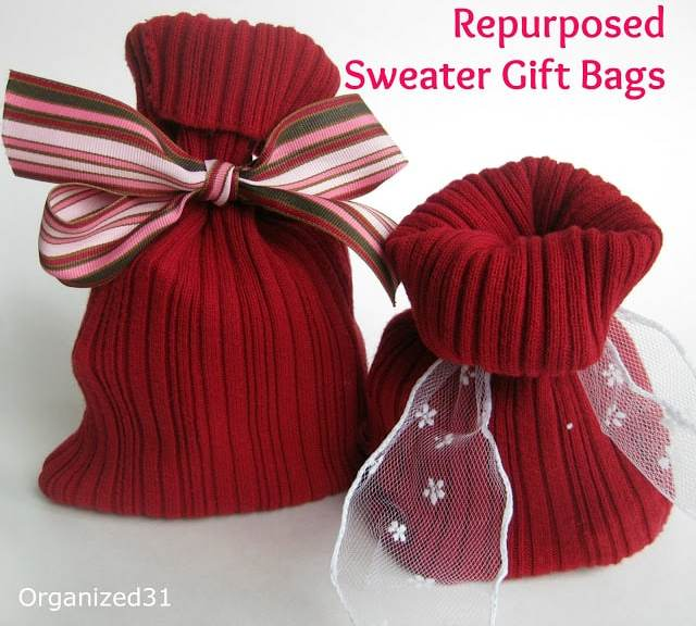 Organized31 - Repurposed Sweater Sleeve Gift Bag