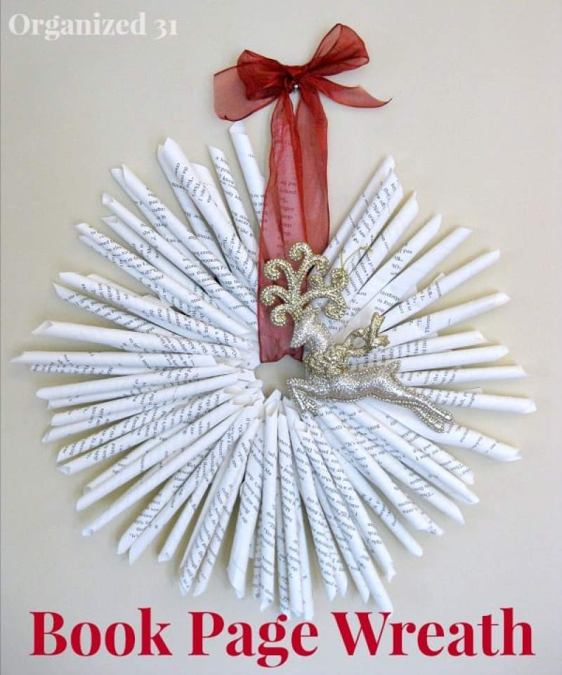 Upcycled Book Page Wreath - Organized 31