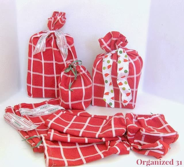 Frugal Upcycled Fabric Gift Bags  - Organized 31