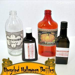 Upcycled Halloween Bottles - Organized 31