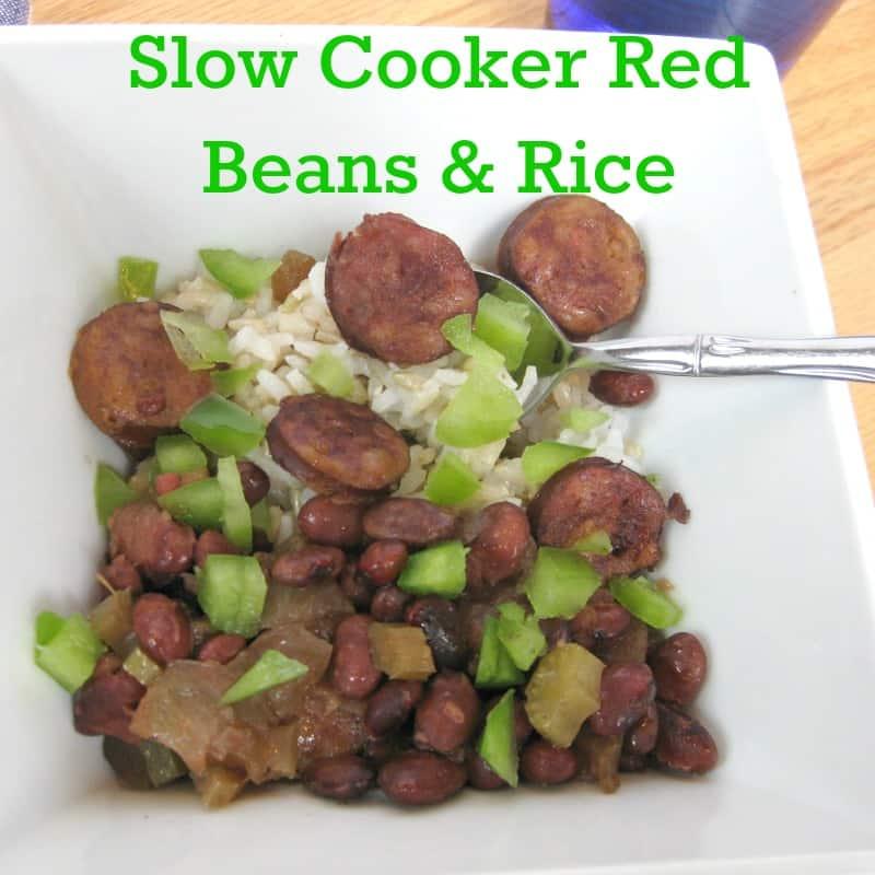 Slow Cooker Red Beans & RIce - Organized 31 #BringHillshireHome #sponsored