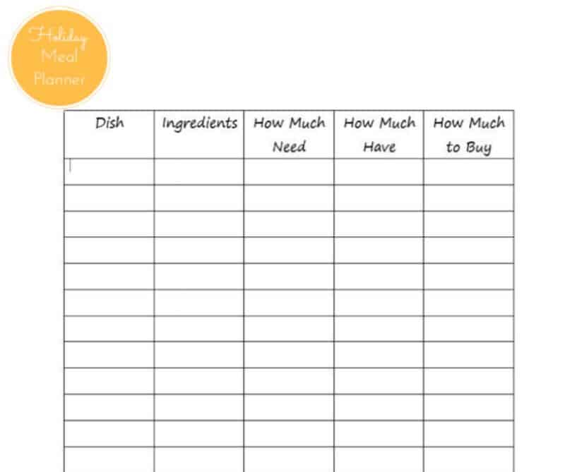 Organize a Holiday Meal Planner - Organized 31