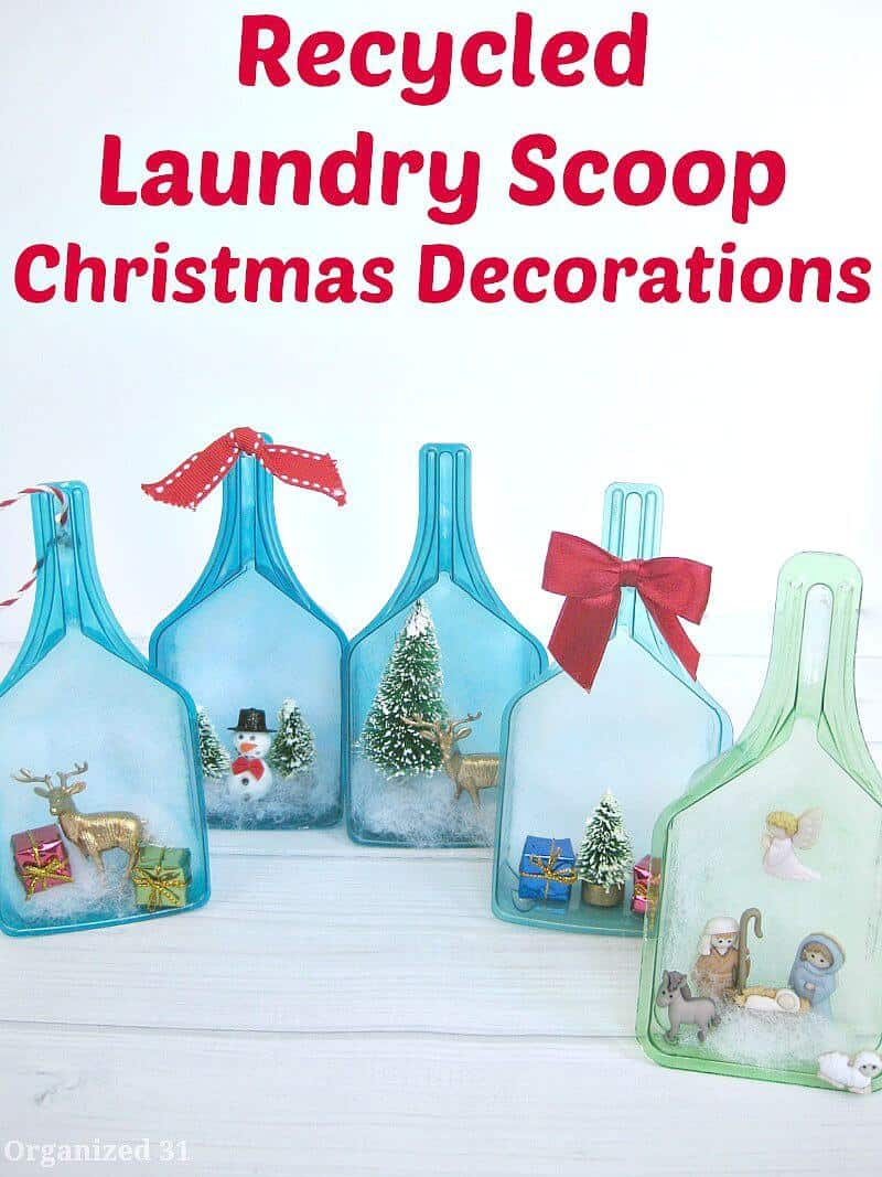 Use a recycled laundry scoop to create a fun holiday scene or Christmas decoration.