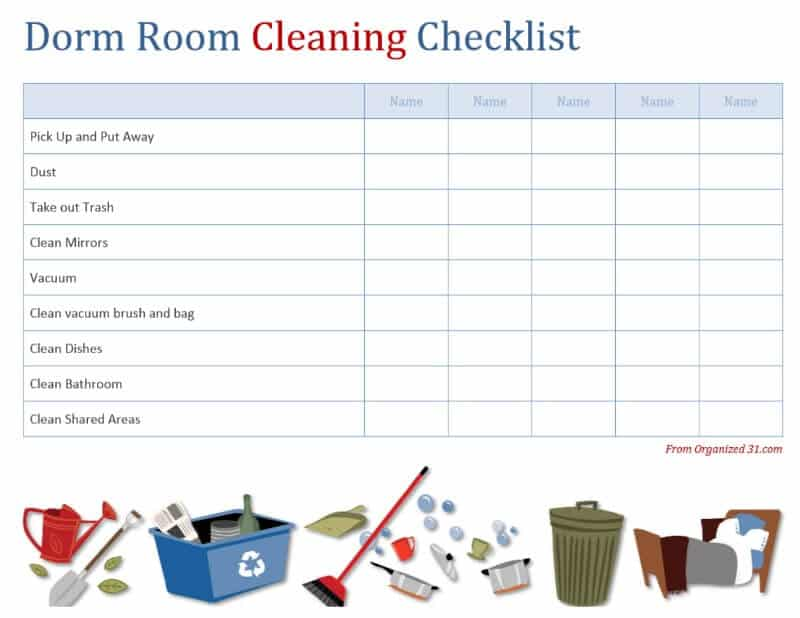 No More Hairy Issues - Dorm Room Cleaning Checklist Free Printable