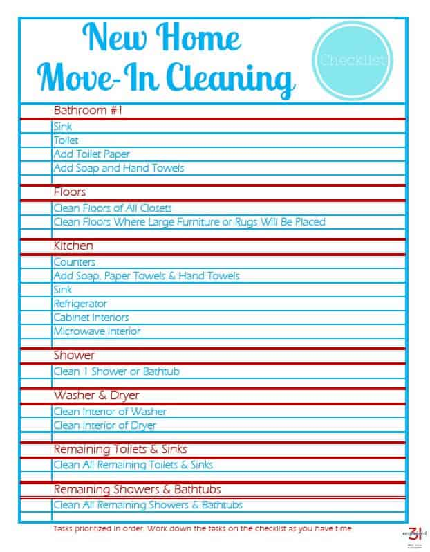 Move-In Cleaning Checklist - Organized 31