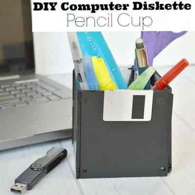 DIY Computer Diskette Pencil Cup
