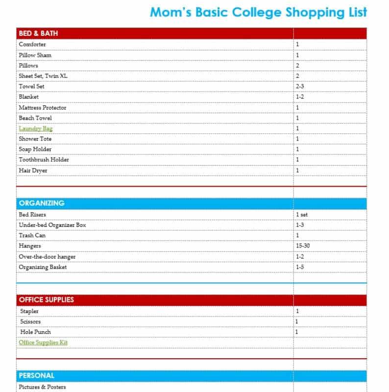 Basic College Supply List Free Printable - Organized 31