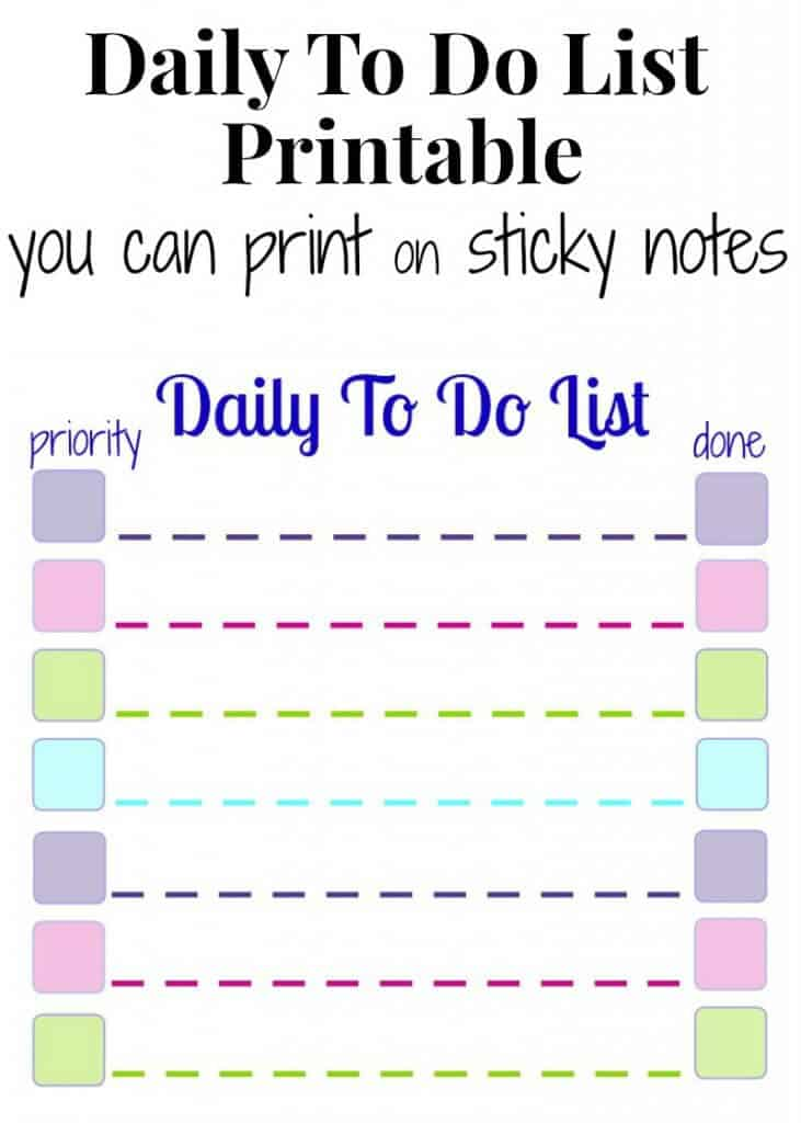 Daily To Do List Printable for Sticky Notes - Tutorial to print on