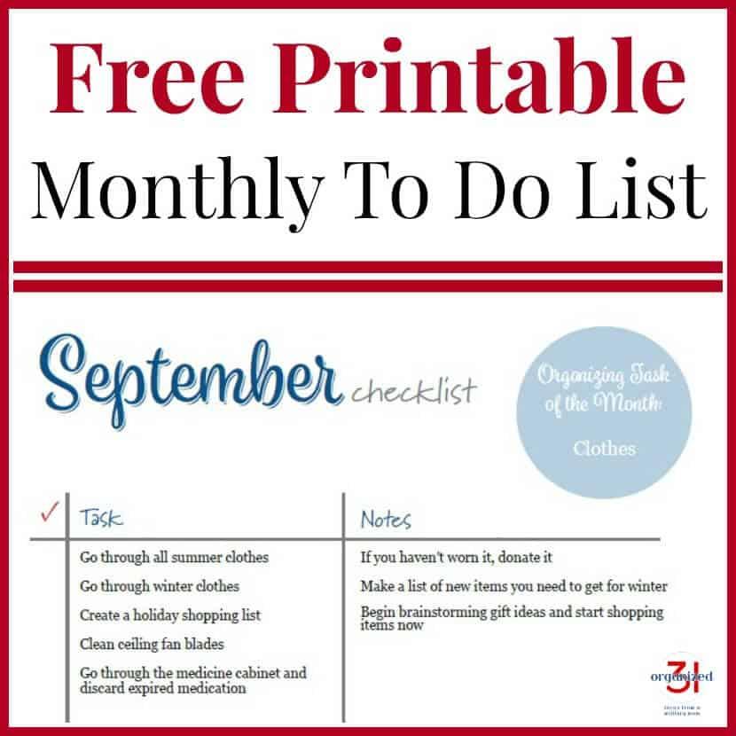 September To Do Checklist Free Printable - Organized 31