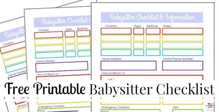 Babysitter Information Sheet Free Printable - Organized 31