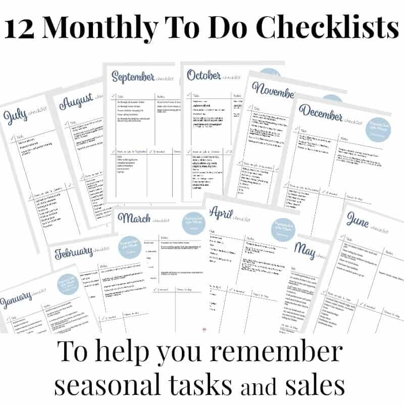 Monthly To Do Checklist - Set of 12 - Organized 31