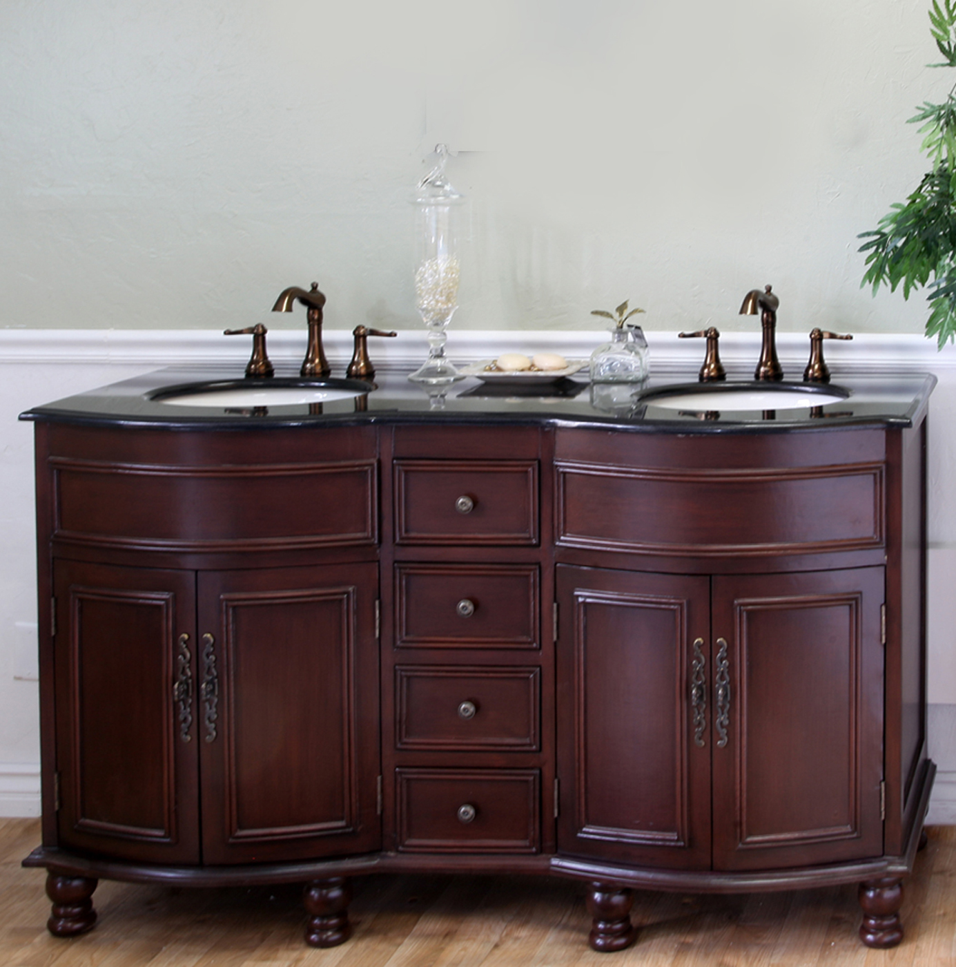 Traditional Double Sink Vanity Colonial Cherry Double Sink Traditional Wood Vanity By