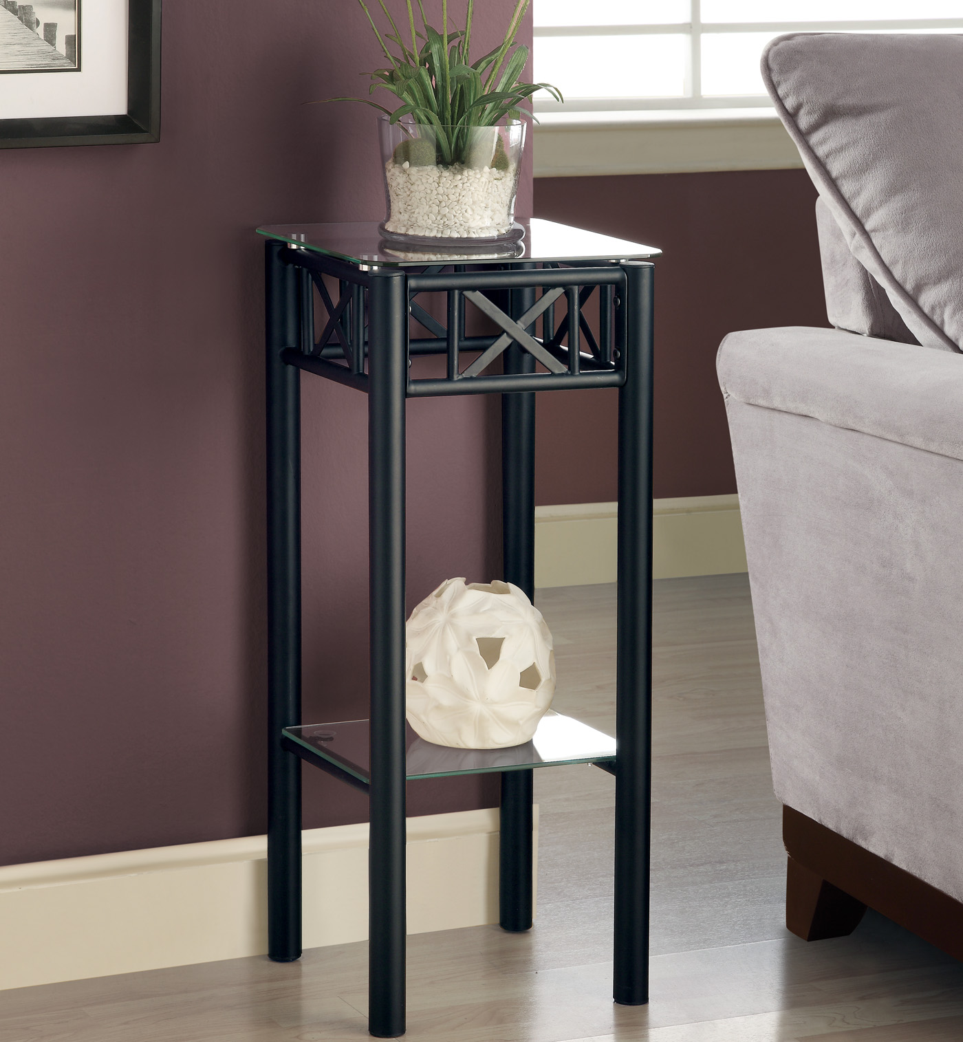 Black Wire Plant Stand Black Metal Plant Stand With A Tempered Glass Top By