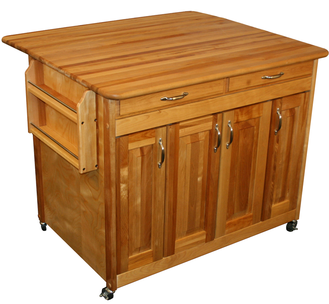 Kitchen Island With Locking Casters Butcher Block Island With Drop Leaf In Kitchen Island Carts