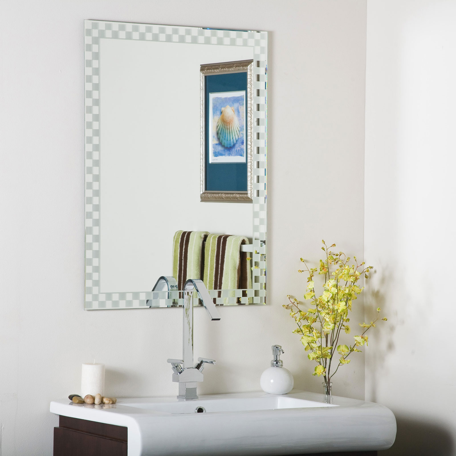 Decorative Mirror Mounting Hardware Checkers Frameless Wall Mirror By Decor Wonderland In