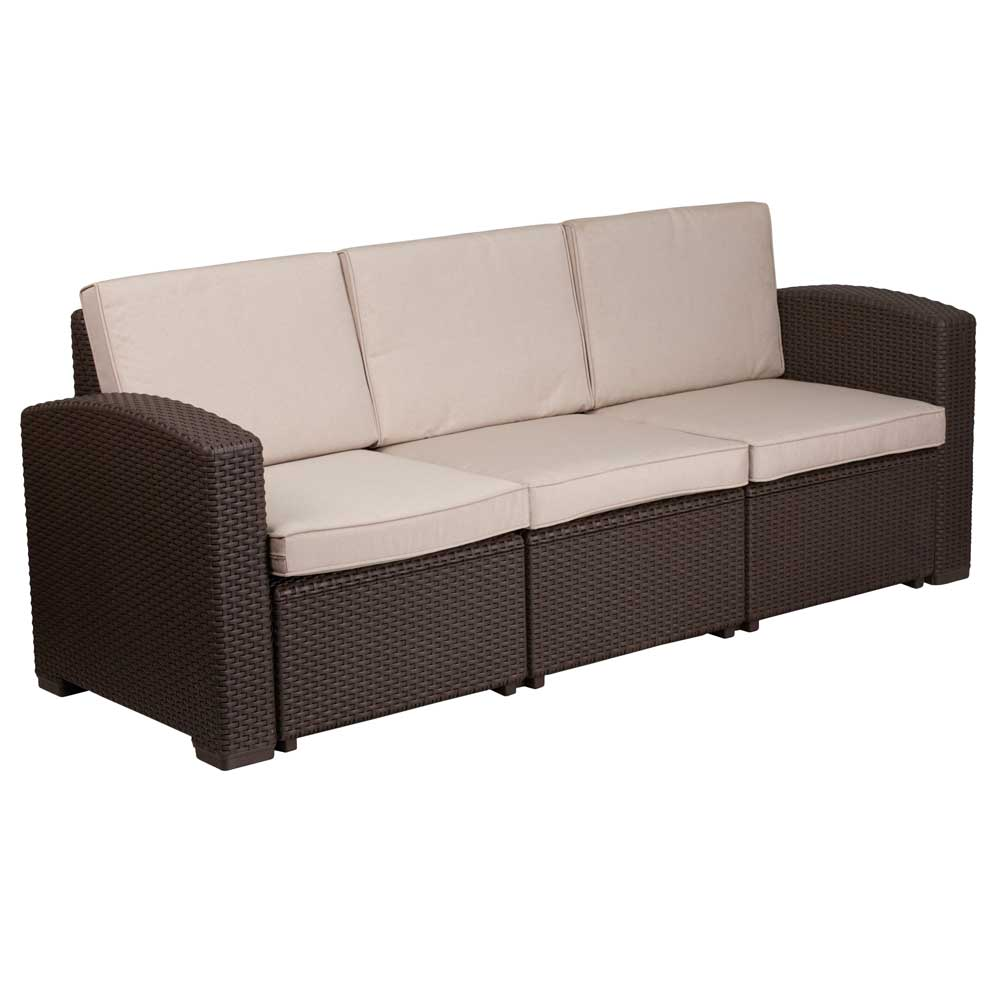 Rattan Ecksofa Faux Rattan Outdoor Sofa - Chocolate Brown In Outdoor Sofas