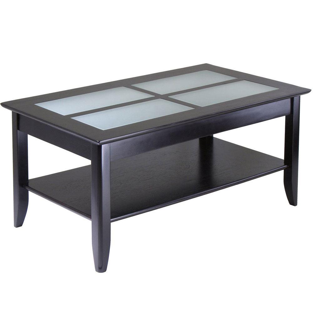 Couchtisch Glas Ablage Glass Top Coffee Table With Shelf - Espresso In Coffee Tables