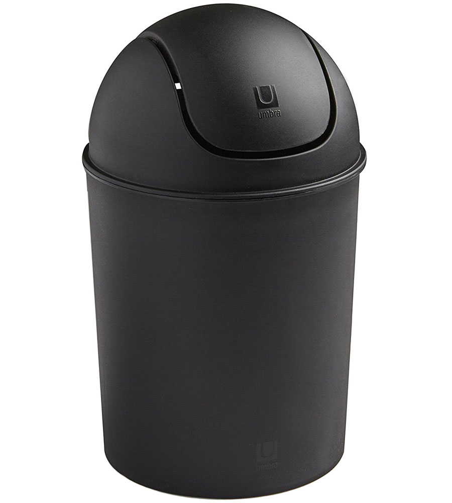 Mini Plastic Trash Can With Lid Mini Swing Top Trash Can Black