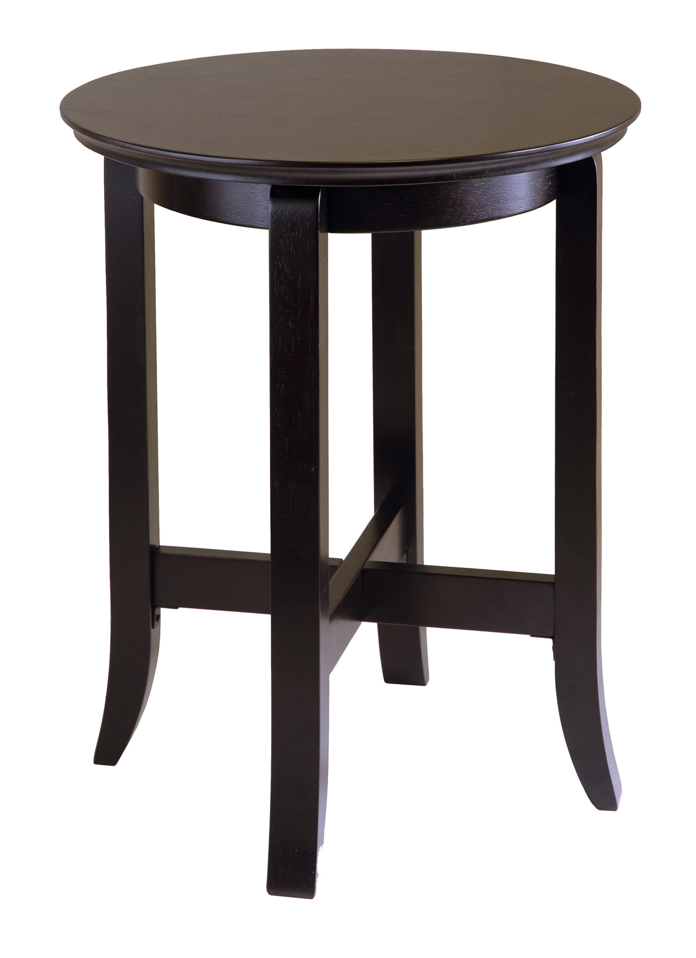 Circular End Tables Round Espresso Wood End Table In Side Tables