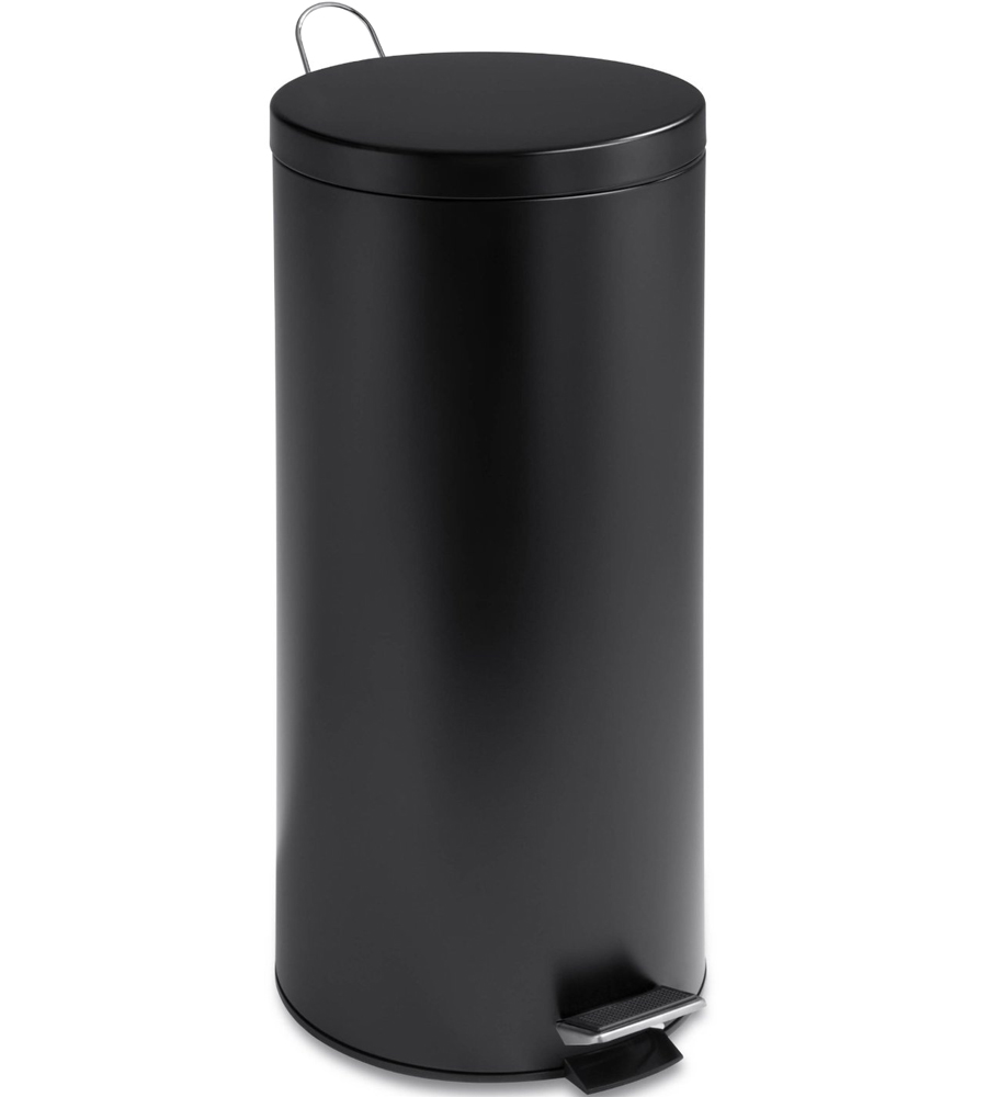 Metal Indoor Trash Can Round Stainless Steel Trash Can Black In Stainless Steel Trash Cans