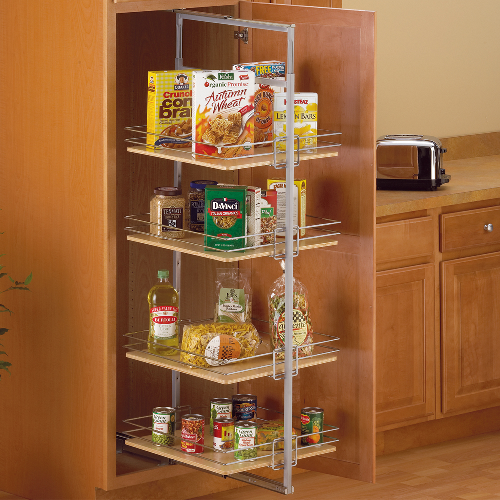 Center Mount Pantry Roll Out System Nickel In Pull Out