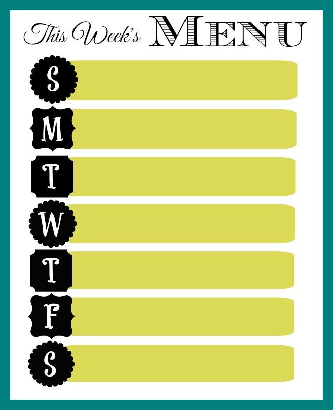 31 Days of 15 Minute Organizing - Day 18 Weekly Menu Printable - weekly menu