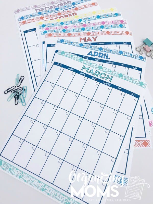 Cute Free Printable Monthly Calendars - Organizing Moms - free printable monthly calendar