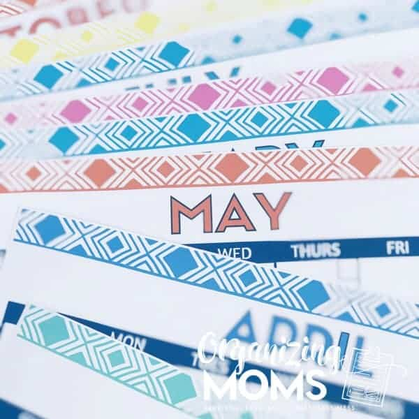 Cute Free Printable Monthly Calendars - Organizing Moms