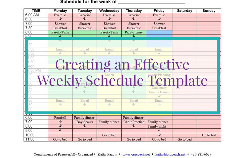 Creating an Effective Weekly Schedule Template - Paauwerfully Organized
